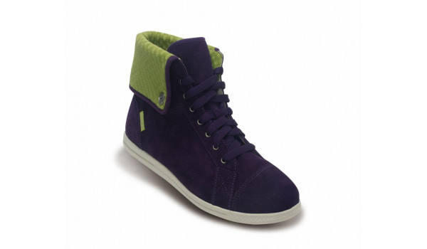LoPro Suede HiTop Sneaker, Mulberry/Green Apple 5