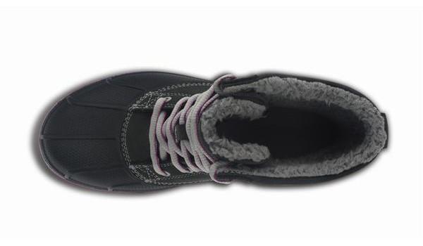 Duck Boot Women, Black/Light Grey 6