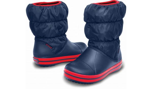 Kids Winter Puff Boot, Navy/Red 3