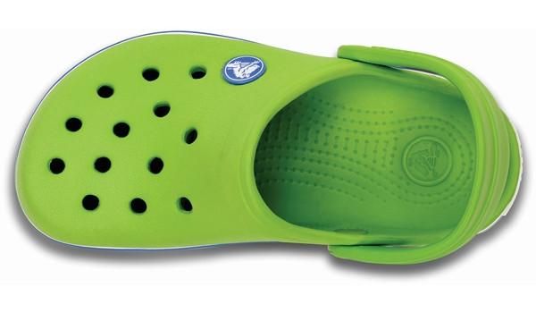 Kids Crocband White, Volt Green/Varsity Blue 6