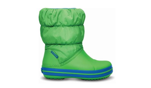Kids Winter Puff Boot, Lime/Sea Blue 1