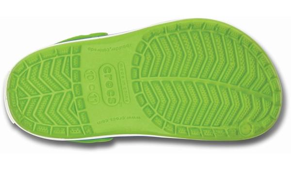 Kids Crocband White, Volt Green/Varsity Blue 3