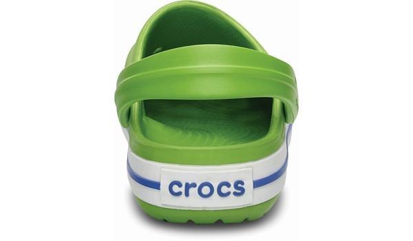 Kids Crocband White, Volt Green/Varsity Blue 2
