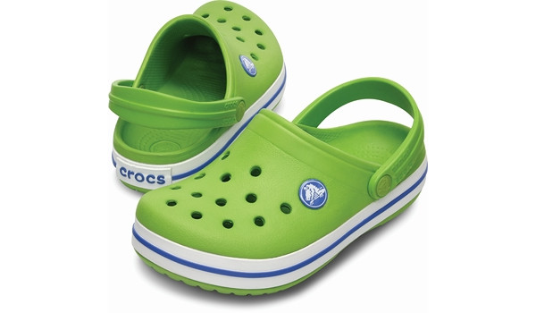 Kids Crocband White, Volt Green/Varsity Blue 4
