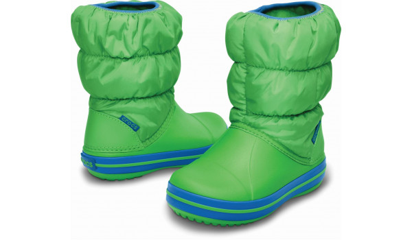 Kids Winter Puff Boot, Lime/Sea Blue 4