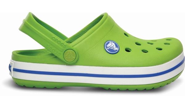 Kids Crocband White, Volt Green/Varsity Blue 1