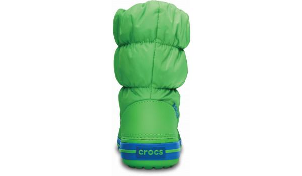 Kids Winter Puff Boot, Lime/Sea Blue 2