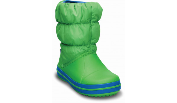 Kids Winter Puff Boot, Lime/Sea Blue 5