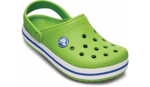 Kids Crocband White, Volt Green/Varsity Blue 5