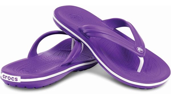 Crocband Flip, Neon Purple/White 4