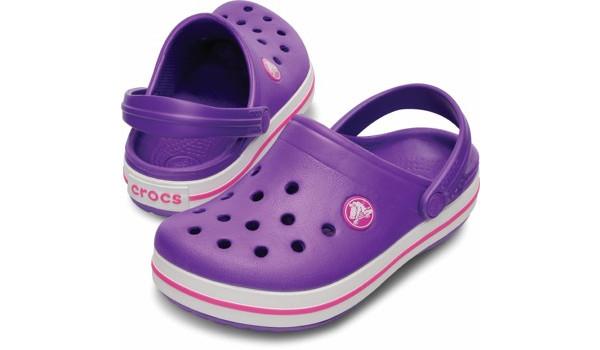 Kids Crocband White, Neon Purple/Neon Magenta 4