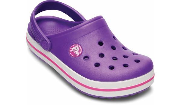 Kids Crocband White, Neon Purple/Neon Magenta 5