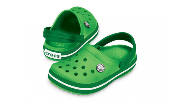 Kids Crocband White, Lime/Kelly Green 4