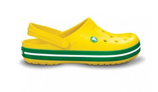 Kids Crocband White, Yellow/Kelly Green 1