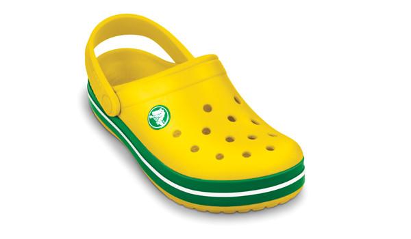 Kids Crocband White, Yellow/Kelly Green 6