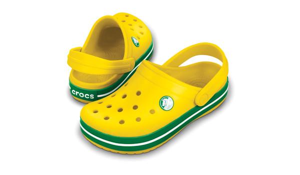 Kids Crocband White, Yellow/Kelly Green 4